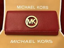 NWT MICHAEL MICHAEL KORS LEATHER FULTON FLAP CONTINENTAL WALLET IN CHERRY