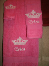 Princess Crown Personalized 3 Piece Bath Towel Set Your Color Choice
