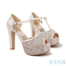 UK SZ SEXY GIRLS Glitter Sequin Peep Toe Platform Block High Heels Party Wedding