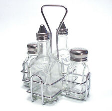 5 Piece Cruet Condiment Holder Oil & Vinegar Bottle Salt Pepper Shaker Pot