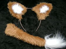 Light Brown Fox Ears And Tail Set Instant Fancy Dress Faux Fur Fox Handmade