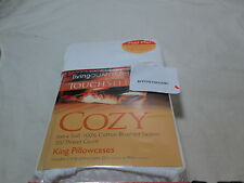 New Living Quarters Touch Select Cozy White 2 King Pillowcases 300 TC NIP