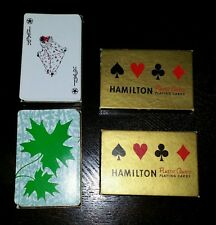 Hamilton Vintage Playing Cards 2 Decks Boxed Green Maple Leaf Plastic Coated