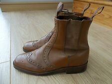 MENS VINTAGE LEATHER CHELSEA  BROGUE RIDING BOOTS SIZE 8 9  MADE IN SPAIN