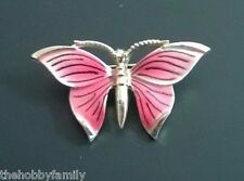 VINTAGE PINK GOLD TONE METAL ENAMEL BUTTERFLY BROOCH PIN COSTUME JEWELRY