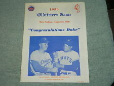 1980 (Aug 23) New York Mets Oldtimers Game baseball scorecard w/Mays, Snider cov