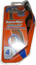 4 PACK OF MENS DISPOSABLE TRIPLE 3 BLADE SUPERMAX RAZORS ALOE & VITAMIN E STRIP