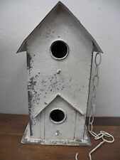 """Vtg-Look Chippy Paint White Metal Double BIRDHOUSE Bird House Hanging 15"""""""