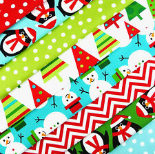 Robert Kaufman ~ Jingle Fabric Scrap Pack / Christmas stocking quilting snowman