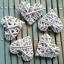 5 X MEDIUM NATURAL WICKER WILLOW HEARTS WEDDING VENUE OR HEART DECORATION WHITE