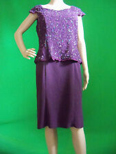 Mother of the Bride Dress Size XL Purple Beaded Detailed Elegant Retail $189