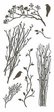 Branches & Birds Set Clear Unmounted Rubber Stamp Set 8 Stamps INKADINKADO NEW