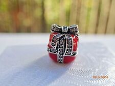 925 STERLING SILVER CHARM  SPARKLING SURPRISE PRESENT , RED ENAMEL WITH CZS