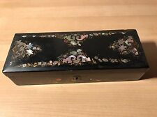 LOVELY ANTIQUE MOTHER OF PEARL INLAID SEWING BOX