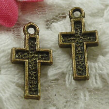 Free Ship 450 pieces bronze plated cross charms 16x8mm #1805