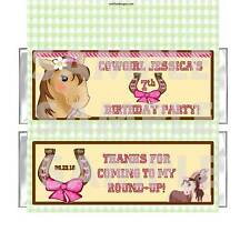 WESTERN HORSE PINK COWGIRL BIRTHDAY PARTY candy bar wrappers Personalized Favor