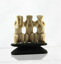 Vintage Japanese Monkeys See Speak Hear No Evil Carved Figurine Statue on Stand