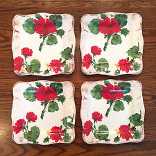 Set of 4 SUR LA TABLE Capri Red Geraniums Square Salad Plates Italy Flowers