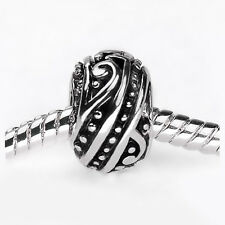 2 Silver Spiral Alloy Charm Beads Large Hole 4.5mm Fits European Bracelet