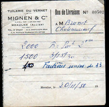 """MEAULNE (03) TUILERIE du VERNET / TUILES """"MIGNEN & Cie"""" en 1950"""