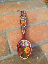 Hand Painted Vintage Wooden Soup Spoon Flower Decorative