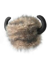 Adult Fur Trapper Trader Buffalo Bison Bills Hat With Horns