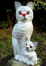 Wooden Carved Sculpture Lovely Family Cat 32 cm  Home Decoration
