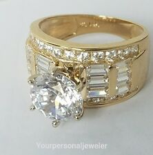 5 CT  big wide 14k yellow Gold round baguette Man Made Diamond Engagement Ring 7
