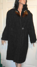 Vintage Black Persian Lamb Coat with Fur Tails and Deco Rhinestone Clips B44