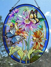 """AMIA Stained-Glass Look """"Butterflies / Flowers Suncatcher - Hand Painted -  NEW"""
