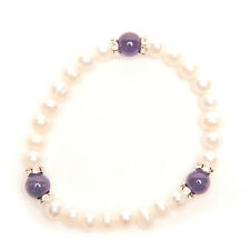 Genuine Pearl and semi-Precious Stone and Crystal Stacking Bracelets