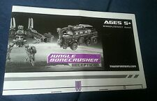 TRANSFORMERS MOVIE JUNGLE BONECRUSHER INSTRUCTION BOOKLET ONLY FREE S/H