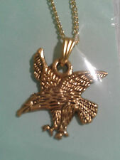 "ENAMEL GOLD PLATED ALLOY""GOLDEN EAGLE"" PENDANT ON 16""or18"" INCHES NECKLACE CHAIN"
