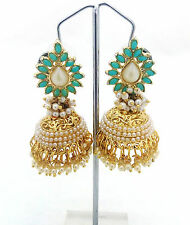 Aashiqui 2 Kundan Pearl Jhumki Jhumka Turquoise Awesome Designer Earrings Set