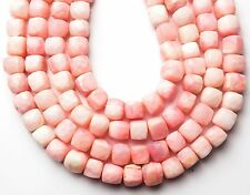 """NATURAL GEM PERUVIAN PINK OPAL FACETED 9MM BOX SHAPE BEADS STRAND 152CTS. 10"""""""