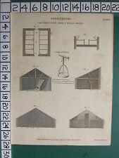 1808 DATED ANTIQUE PRINT ~ AGRICULTURE ~ CALF PENS CATTLE SHEDS FEEDING HOUSES