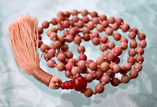 Faceted Rhodonite & Carnelian Hindu Hand Knotted Peach Mala Beads Necklace