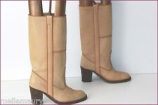 VINTAGE Mi Bottes Tout Cuir Camel Made In Italy T 35 TBE