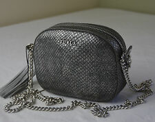 Furla Cuore Gunmetal Python Embossed Croobody with Heart Tassel