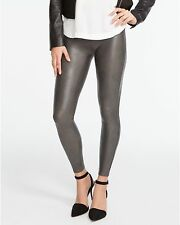 NWT $98 SPANX Size S SLIMMING FAUX LEATHER LEGGINGS PANTS Gunmetal Gray 2437