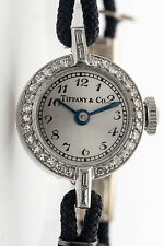 Vintage $5000 1ct VS G Diamond Baguette Platinum Tiffany & Co Ladies Watch