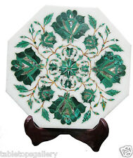 """9""""x9"""" White Marble Tile Serving Plate Malachite Inlay Mosaic Art Home Deco H1933"""