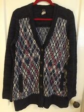 FREE PEOPLE Anthropologie Cardigan Sweater Knit Argyle Pattern Pockets Wmn M - L