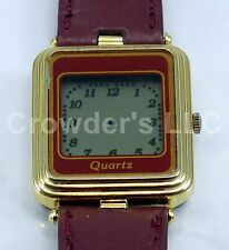 Vintage Inox Collectible LCD Analog Quartz Women's Watch ( Not Tested ) Red/Ruby