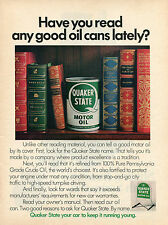 1972 Quaker State Motor Oil Print Ad Have you read any good oil cans lately?