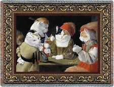 Cats Playing Poker The Cheat by Melinda Copper Art Tapestry Throw Made in USA