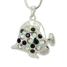 "W Swarovski Crystal Purple Fish Aquarium Sea Butterflyfish Pendant 18"" Chain"