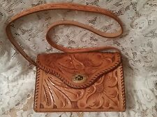 VINTAGE Hand Tooled Natural Leather Western Style Satchel-Shoulder-Bag