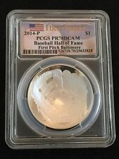 2014 PROOF $1 Silver Baseball Hall of Fame Coin -PCGS PR70 First Pitch Baltimore