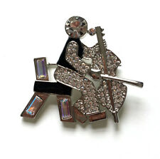 Butler and Wilson Crystal Man Playing Cello Brooch 45th Anniversary Collection